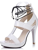 Sandals Spring Summer Fall Comfort Patent Leather Party & Evening Dress Casual Stiletto Heel Zipper Black White