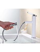 Basin Faucet  Centerset Thermostatic Rain Shower Pullout Spray with  Ceramic Valve Single Handle One Hole Bathroom Taps Mixer