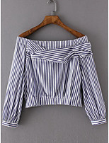 Women's Going out Cute Spring Summer T-shirt,Striped Boat Neck Long Sleeve Cotton