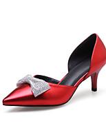 Women's Sandals Spring Fall Comfort PU Wedding Office & Career Party & Evening Kitten Heel Bowknot Sparkling Glitter Silver Gray Red
