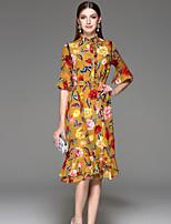 Feminino Evasê Vestido,Para Noite Fofo Floral Colarinho Chinês Altura dos Joelhos Meia Manga Amarelo Poliéster Primavera VerãoCintura