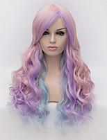 des points partiels cosplay perruques couleur rose de mode perruque gradient multicolore 26 pouces de long cheveux bouclés
