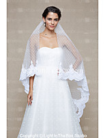 Wedding Veil One-tier Cathedral Veils Dot Lace Applique Edge Net