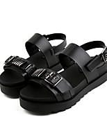 Sandals Spring Summer Fall Comfort PU Dress Casual Flat Heel Buckle Black White