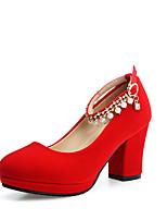 Tacón Robusto-Zapatos del club-Tacones-Oficina y Trabajo Vestido Fiesta y Noche-Vellón-Negro Rojo