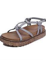 Sandals Spring Summer Fall Comfort PU Dress Casual Flat Heel Brown Gray