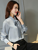 Women's Formal Work Simple Spring Fall Shirt,Solid Stand Long Sleeve Cotton Opaque