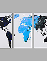Canvas Oil Paintings Set of 3 Modern Abstract The map Hand-painted Canvas Painting Ready to Hang