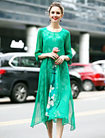 Women's Going out Cute Shift Dress,Floral Round Neck Midi ¾ Sleeve Silk Spring Summer Mid Rise Micro-elastic Medium