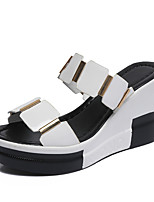 Sandals Summer Fall Club Shoes PU Office & Career Dress Casual Wedge Heel Others Black White Walking