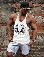 Men's Casual/Daily Beach Sports Simple Active All Seasons Tank Top,Print Deep U Sleeveless Blue Red Gray Yellow Cotton Thin