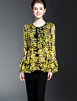OYCP Women's Ruffle Going out Casual/Daily Sophisticated Spring Summer BlouseFloral Round Neck Long Sleeve Polyester