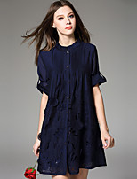 Women's Lace Going out Cute Swing Dress,Solid Round Neck Above Knee ½ Length Sleeve Polyester Spring Summer Mid Rise Micro-elastic Medium