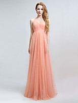 Formal Evening Dress Sheath / Column Sweetheart Floor-length Chiffon with Side Draping
