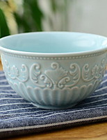 1 Pcs Ceramic Dining Bowl Baroque Wind Palace Relief Flower Bowl