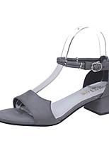Women's Sandals Summer Club Shoes Fleece Outdoor Casual Party & Evening Chunky Heel Block Heel Buckle Black Gray Walking