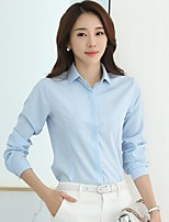 Women's Casual/Daily Formal Work Simple Street chic Shirt,Solid Stand Long Sleeve Blue White Polyester