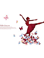 Wall Stickers Wall Decals Style Butterfly Dancing Girl PVC Wall Stickers