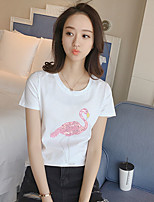 Women's Going out Beach Party/Cocktail Sexy Cute Spring Summer T-shirt,Solid Round Neck Short Sleeve Polyester Thin