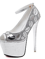Heels Spring Club Shoes Fabric Dress Stiletto Heel Rhinestone Silver