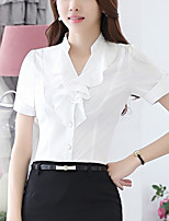 Women's Going out Simple Summer Shirt,Solid Stand Short Sleeve White Polyester Medium