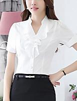Для женщин На выход Лето Рубашка Воротник-стойка,Простое Однотонный С короткими рукавами,Полиэстер,Средняя