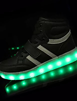 Sneakers Spring Fall Light Up Shoes PU Outdoor Flat Heel Magic Tape Lace-up Black Pink White Silver Gold Walking