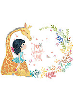 Wall Stickers Wall Decals Style Giraffe Little Girl PVC Wall Stickers