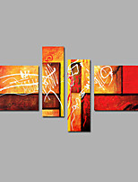 Hand-Painted Abstract  Modern Four Panels Canvas Oil Painting For Home Decoration