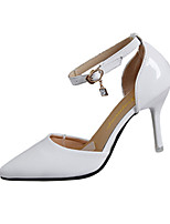 Heels Spring Summer Fall Comfort Patent Leather Office & Career Casual Stiletto Heel Buckle Black Pink White Walking