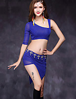 Belly Dance Dresses Women's Performance Tulle 2 Pieces Half Sleeve Natural Top / Skirt