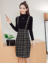 Sign 2017 spring new high collar sweater dress + plaid suspenders piece fitted women