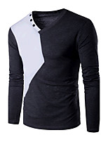 Tee-shirt Homme,Couleur Pleine Sortie Habillées simple Actif Printemps Automne Manches Longues Col en V Noir Gris Coton Moyen
