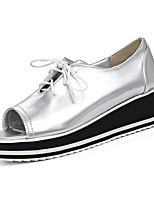 Women's Heels Spring Summer Fall PU Office & Career Dress Party & Evening Wedge Heel Lace-up White Black Silver