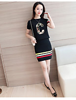 Sign knitted suits College Wind wild temperament female short-sleeved knit shirt package hip skirt piece