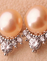 Stud Earrings Pearl Pearl Alloy Fashion Jewelry White Orange Purple Jewelry Casual Sports 1 pair
