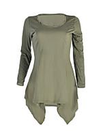 Damen Solide Einfach Street Schick Lässig/Alltäglich Ausgehen T-shirt,Rundhalsausschnitt Frühling Herbst Langarm Polyester Mittel