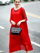 Feminino Evasê Vestido,Para Noite Férias Temática Asiática Sólido Decote Redondo Médio Manga ¾ Seda Linho Primavera Verão Cintura Média