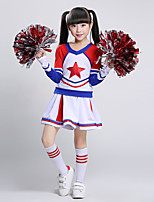 Fantasias para Cheerleader Roupa Crianças Para Meninas Actuação Algodão Recortes 2 Peças Manga Comprida Natural Saia Topo