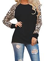 Feminino Camiseta Para Noite Casual Tamanhos Grandes Simples Moda de Rua Primavera Outono,Leopardo Poliéster Decote Redondo Manga Longa