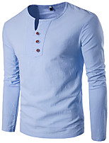 Men's Going out Casual/Daily Holiday Simple T-shirt,Solid V Neck Long Sleeve Blue White Beige Black Gray Yellow Cotton