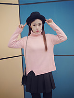 Sign # 2016 autumn and winter Korean loose irregular thickening split turtleneck sweater bottoming sweater woman