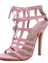 chaussures club sandales d'été microfibre robe talon aiguille lacets