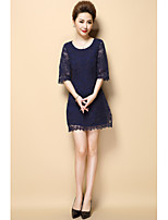 AINIER Women's Going out Party/Cocktail Sexy Cute A Line DressPrint Round Neck Mini  Length Sleeve Nylon Spring Summer Mid Rise Inelastic