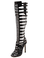 Heels Summer Gladiator PU Dress Stiletto Heel Zipper Black