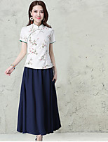 Women's 2017 spring national wind printing short-sleeved suit small Slim shirt collar plate buttons classical