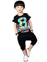 Boy's Going out Casual/Daily School Print Sets Cotton Summer Short Sleeve Harem Pants 2 Piece Clothing Set Children's Garments