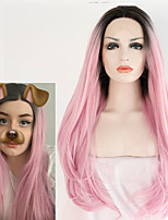 Synthetic Lace Front Wig Handmade for Women Long Wavy Dark Roots Pink Natural Wave Heat Resistant Hair Fashion Hairstyle Cosplay Wig