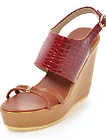 Women's Sandals Spring Summer Fall D'Orsay & Two-Piece Comfort Leatherette Outdoor Dress Casual Wedge Heel Rhinestone Buckle Plaid