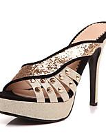 Damen-Slippers & Flip-Flops-Lässig Kleid-Kunststoff-StöckelabsatzSchwarz Rot